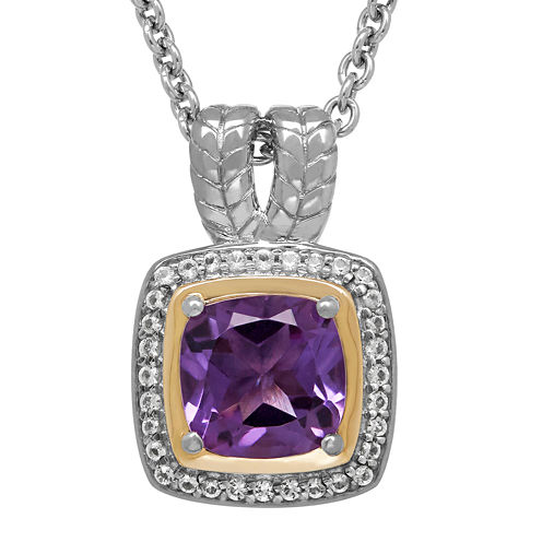Genuine Amethyst and White Topaz Pendant Necklace