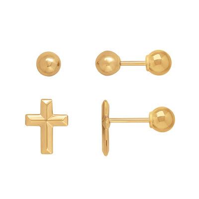 Infinite Gold™ Kids 14K Yellow Gold Cross and Ball Stud 2-pr. Earring Set