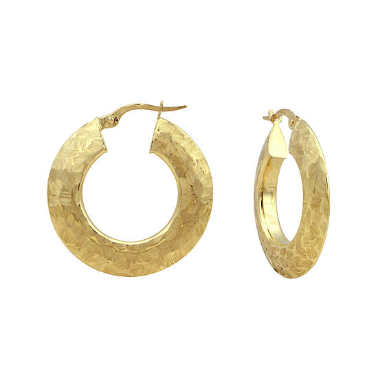 14K Yellow Gold Textured 25mm Hoop Earrings