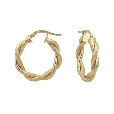 14K Yellow Gold 22.6mm Twist Hoop Earrings