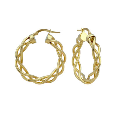 Made in Italy 14K Yellow Gold 28mm Intertwined Hoop Earrings