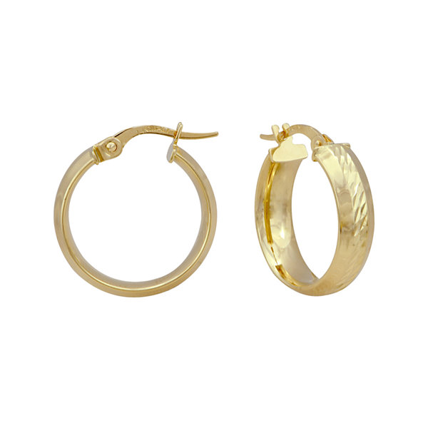 14K Yellow Gold Polished and Diamond-Cut 19mm Hoop Earrings