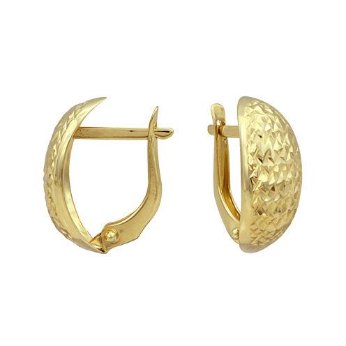 14K Yellow Gold 16mm Diamond-Cut Hoop Earrings