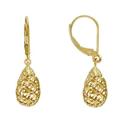 14K Yellow Gold Filigree Balloon Drop Earrings