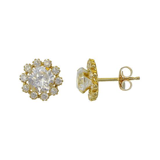 Cer Flower Cubic Zirconia Stud Earrings 14k Gold