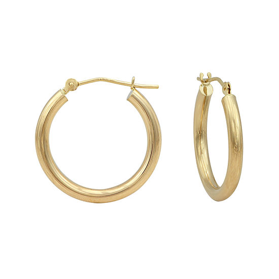 14K Gold Round Polished 21mm Hoop Earrings