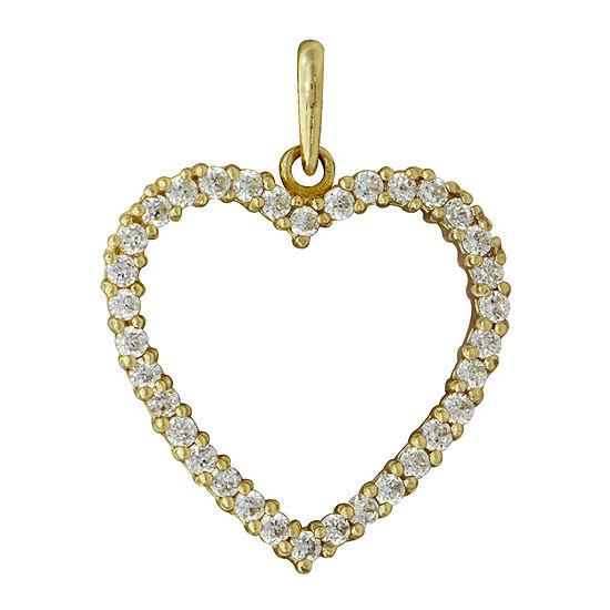 Cubic Zirconia 10K Yellow Heart Pendant