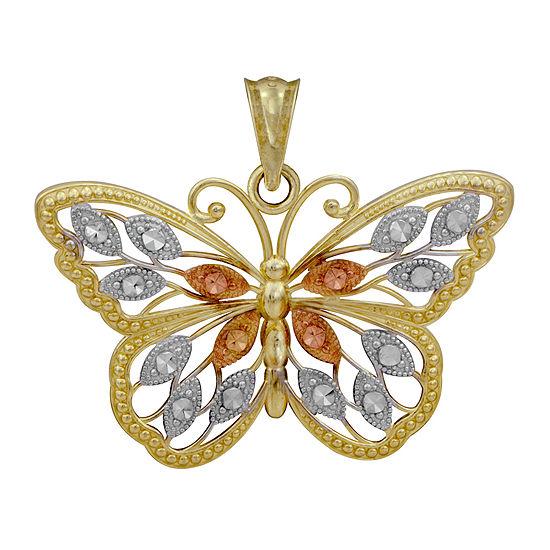 10K Tri-Tone Gold Butterfly Pendant