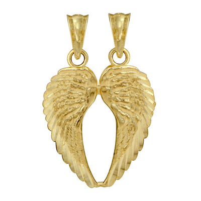 10K Yellow Gold Double Angel Wings Charm
