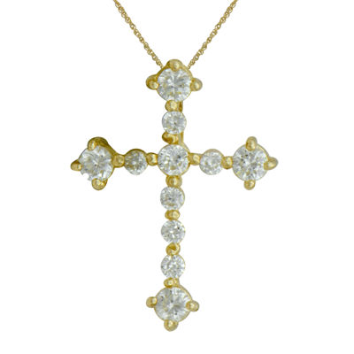 Girls Cubic Zirconia 14K Yellow Gold Cross Pendant Necklace