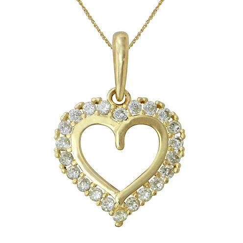Girls Cubic Zirconia 14K Yellow Gold Heart Pendant Necklace