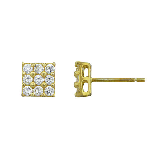 Petite Lux™ Cubic Zirconia 10K Yellow Gold Block Stud Earrings
