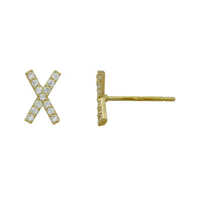 "Petite Lux™ Cubic Zirconia 10K Yellow Gold ""X"" Stud Earrings"