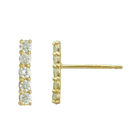 Petite Lux™ Cubic Zirconia 10K Yellow Gold Vertical Bar Drop Earrings