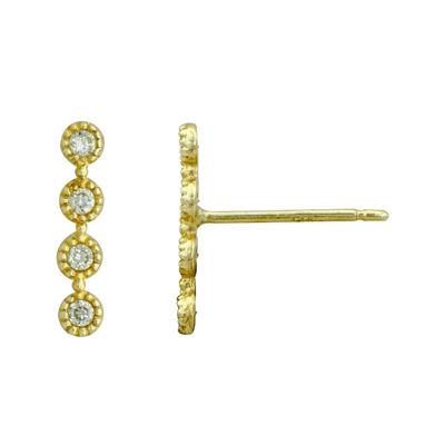 Petite Lux™ Cubic Zirconia 10K Yellow Gold Vertical Bezel-Set Drop Earrings