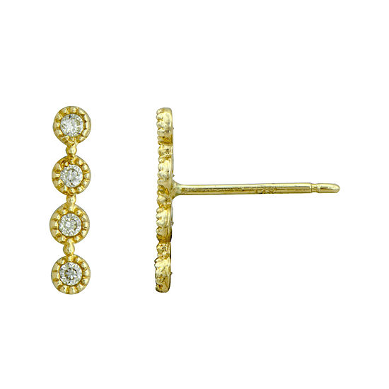 Petite Lux™ Cubic Zirconia 10K Yellow Gold Vertical Bezel-Set Drop Earrings