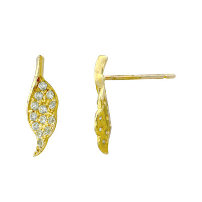 Petite Lux™ Cubic Zirconia 10K Yellow Gold Angel Wing Earrings