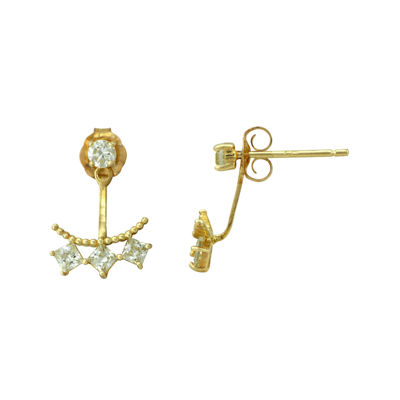 Petite Lux™ Cubic Zirconia 10K Yellow Gold Stud Jacket Earrings
