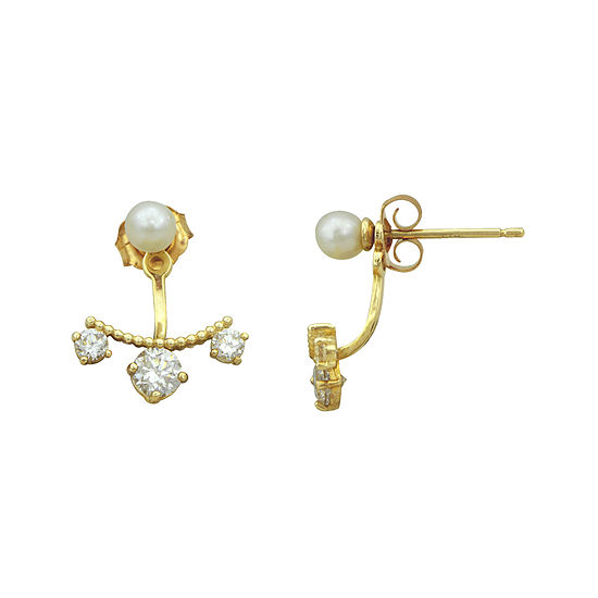 Petite Lux™ Cultured Freshwater Pearl and Cubic Zirconia Stud Jacket Earrings