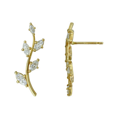 Petite Lux™ Cubic Zirconia Leaf Crawler Drop Earrings