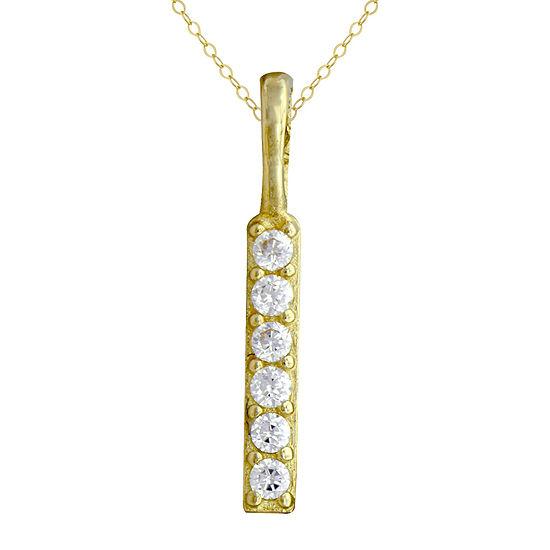 Petite Lux™ Cubic Zirconia Vertical Bar Pendant Necklace