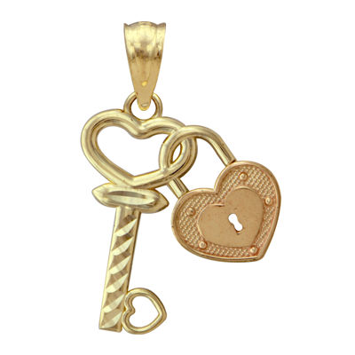 10K Two-Tone Gold Lock and Key Charm Pendant
