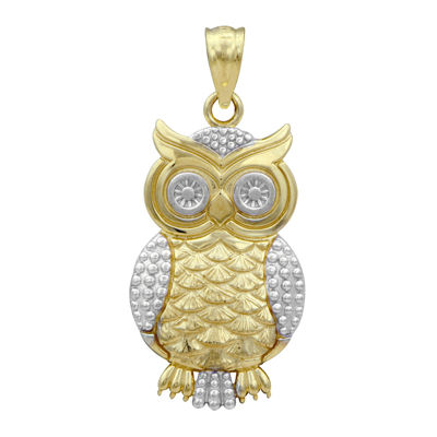 10K Two-Tone Gold Owl Charm Pendant
