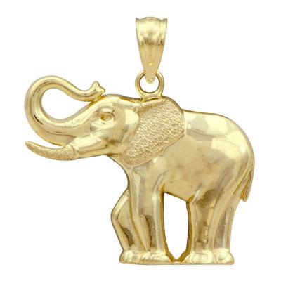 10K Yellow Gold Elephant Charm Pendant