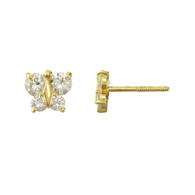 Girls Cubic Zirconia Butterfly Stud Earrings 14K