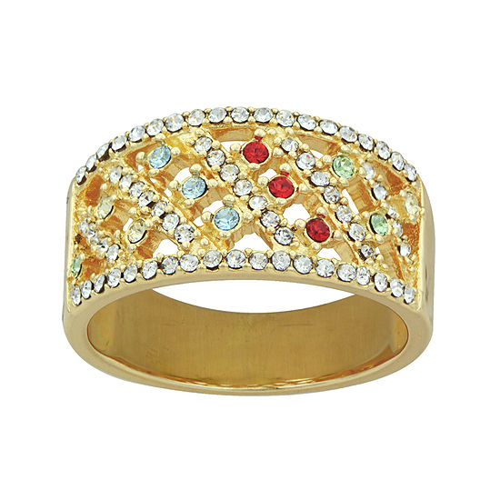 14k Yellow Gold Over Silver Multicolor Crystal Ring