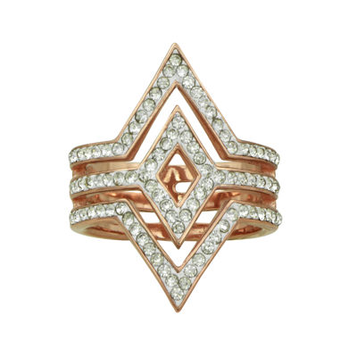 14k Rose Gold Over Silver Crystal Double V Ring