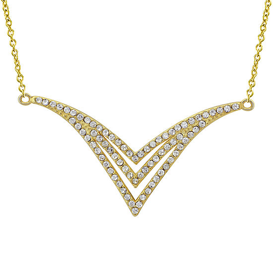 14K Yellow Gold Over Sterling Silver Crystal Chevron Necklace