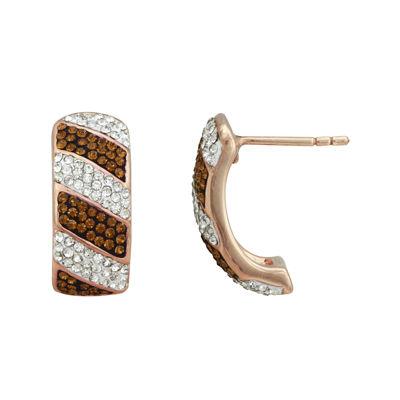 14K Rose Gold Over Silver Chocolate Crystal Hoop Earrings
