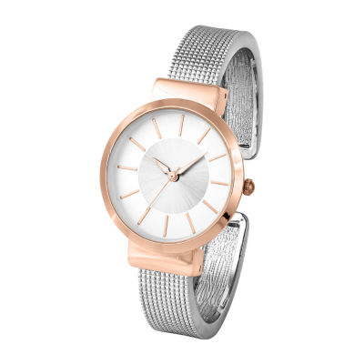 Mixit Womens Silver Tone Bangle Watch-Pts3134ttrg