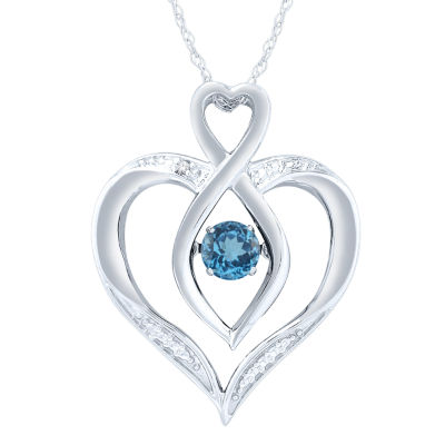Diamond Accent Blue Blue Topaz Round Sterling Silver Pendant