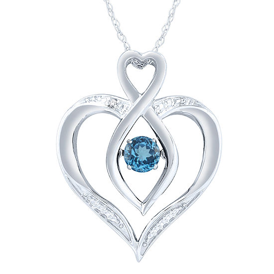 Womens Diamond Accent Lab Created Blue Topaz Sterling Silver Round Pendant