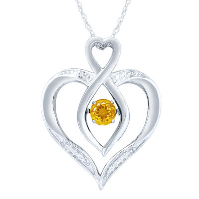 Womens Diamond Accent Genuine Yellow Citrine Sterling Silver Round Pendant