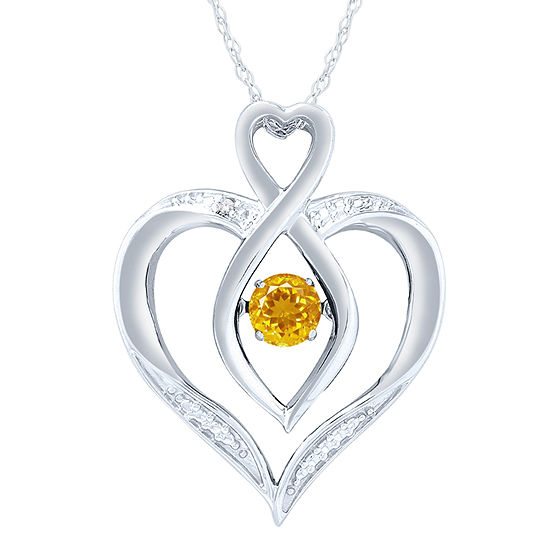 Womens Diamond Accent Genuine Yellow Citrine Sterling Silver Round Pendant