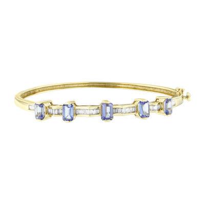 Womens 1/2 CT. T.W. Blue Tanzanite 14K Gold Bangle Bracelet