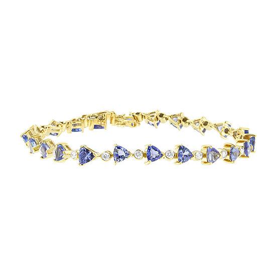 7/8 CT. T.W. Genuine Blue Tanzanite 14K Gold Round 7 Inch Tennis Bracelet