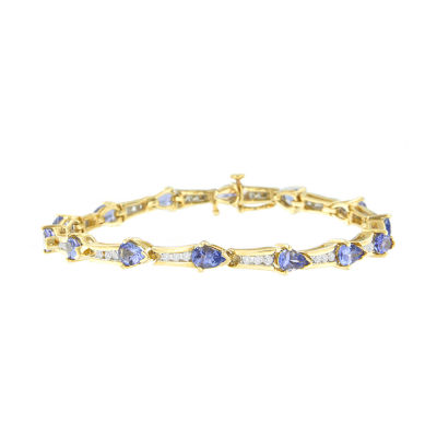 Womens 7/8 CT. T.W. Blue Tanzanite 14K Gold Tennis Bracelet