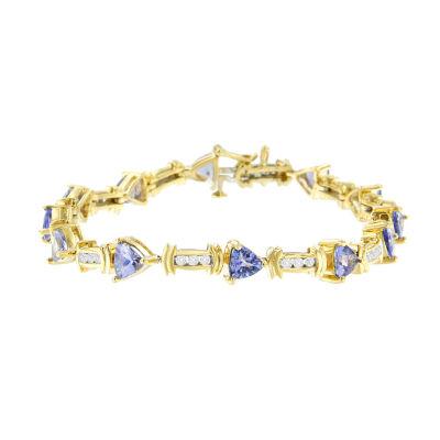 5/8 CT. T.W. Blue Tanzanite 14K Gold Round 7 Inch Tennis Bracelet