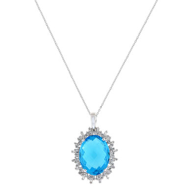 Womens 3/8 CT. T.W. Blue Topaz 18K White Gold Pendant Necklace