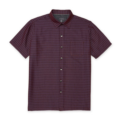 Van Heusen Short Sleeve Grid Button-Front Shirt-Slim
