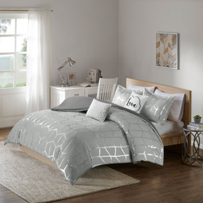 Intelligent Design Khloe Metallic Duvet Cover Set