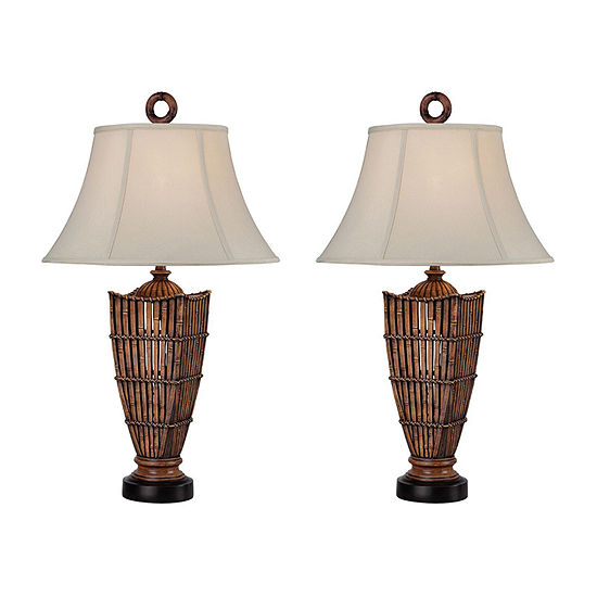 Seahaven Rattan Table Lamp Set