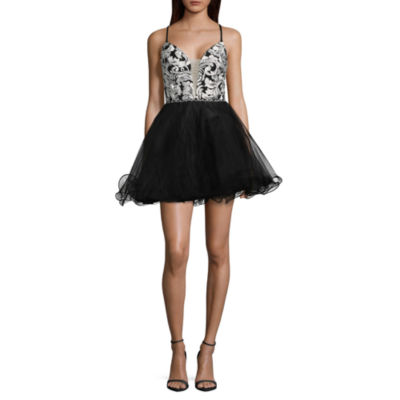 Social Code Sleeveless Embroidered Party Dress-Juniors