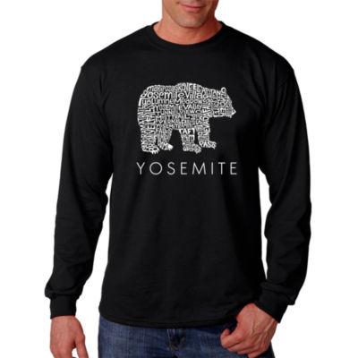Los Angeles Pop Art Men's Word Art Yosemite Bear Long Sleeve T-Shirt Big & Tall