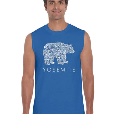 Los Angeles Pop Art Men's Word Art Yosemite Bear Sleeveless T-Shirt Big & Tall