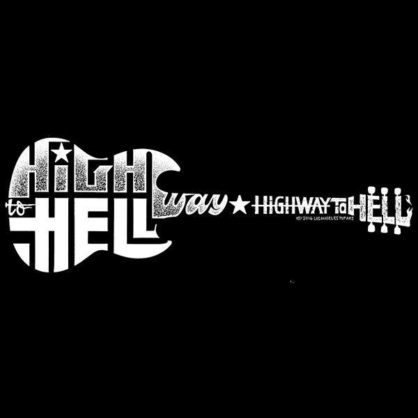 Los Angeles Pop Art Men's Word Art Highway to HellHoodie Big & Tall